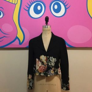 Moschino Couture Floral Black Wool Cropped Jacket